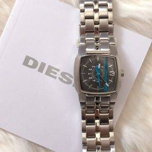 DIESEL Blue Stripe Black Dial Silver Watch DZ5204